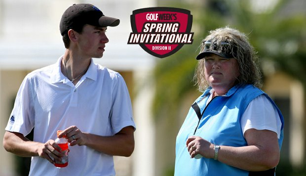 Lisa Becka talks with Richard Caisley during the first round of the Golfweek Division II Spring Invite.