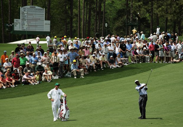 Vijay Singh hits a shot on the second fairway during the second round of The Masters at the Augusta National Golf Club on April 7, 2006 in Augusta, Georgia.