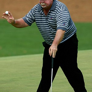 Craig Stadler waves to the gallery on the tenth green during the first round of The Masters at the Augusta National Golf Club on April 5, 2007 in Augusta, Georgia.