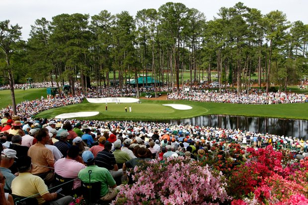A general view of the 16th hole during the first round of the 2008 Masters Tournament at Augusta National Golf Club on April 10, 2008 in Augusta, Georgia.