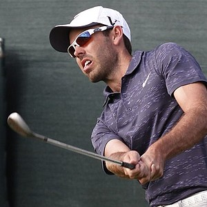 Charl Schwartzel chips on the 17th hole during the second round of the Honda Classic.