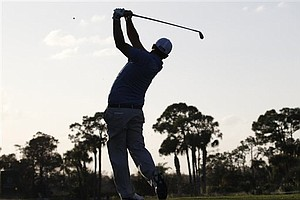 Greg O'Mahony tees off on the seventh hole during the second round of the Honda Classic.