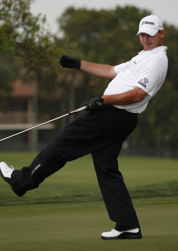 Tommy Gainey reacts as he misses a putt on the ninth hole during the third round of the Honda Classic.