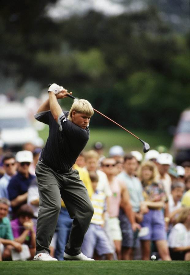John Daly of USA tees off during the final round of the Masters, held at The Augusta National Golf Club on April 12, 1992 in Augusta, GA.