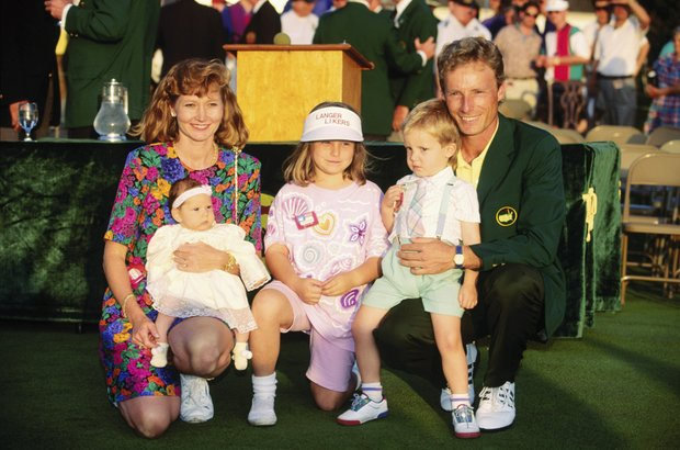 Bernhard Langer of Germany celebrates victory with his family after the final round of the Masters, held at The Augusta National Golf Club on April 11, 1993 in Augusta, Georgia.