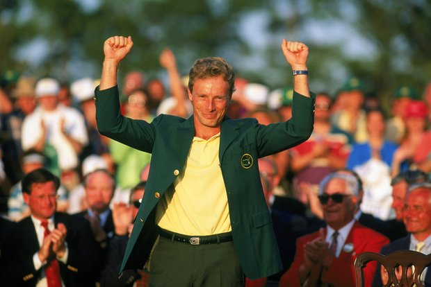 Bernhard Langer of Germany celebrates after receiving the green jacket for winning the US Masters at the Augusta National Golf Club in Augusta, Georgia, USA on April 11, 1993.