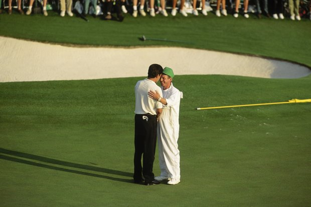 Jose-Maria Olazabal of Spain celebrates victory with his caddy during the final round of the Masters, held at The Augusta National Golf Club on April 10, 1994 in Augusta, GA.
