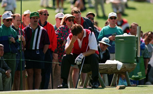 NICK FALDO IS DRIVEN TO DESPAIR BY HIS POOR PLAY DURING THE SECOND ROUND OF THE MASTERS IN AUGUSTA, GEORGIA.