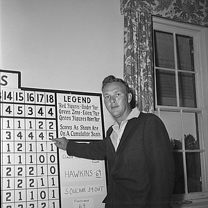 Arnold Palmer points to his first day low, 67, five-under-par, in the Masters Golf tournament, April 7, 1960.