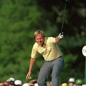 Jack Nicklaus watches his putt drop for a birdie on the 17th hole at Augusta National on April 13, 1986 in Augusta, Ga. The shot gave him the lead and he went on to win his sixth Masters title.
