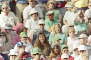 Jack Nicklaus reacts to a missed putt for an eagle on 15 during first round play of the Masters Thursday April 6, 1990 at the Augusta National Golf Club. Mike Donald lead the round with an 8 under par 64.