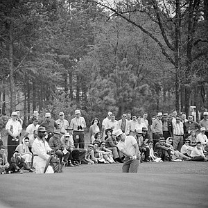 Jack Nicklaus chips up to first green during third round of Masters Golf Tournament, April 9, 1960, at Augusta, Ga. Nicklaus, of Columbus, Ohio, was a U.S. Amateur champion.