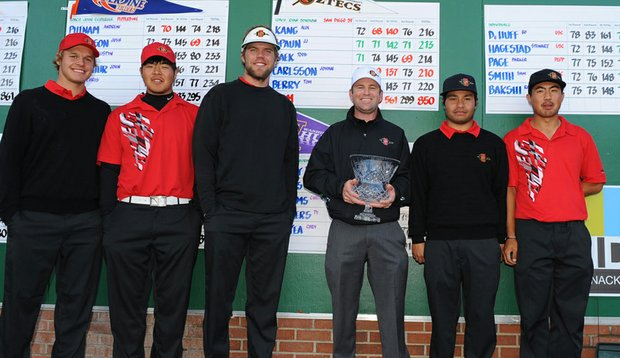 The San Diego State Aztecs after winning the USC Collegiate Invitational.