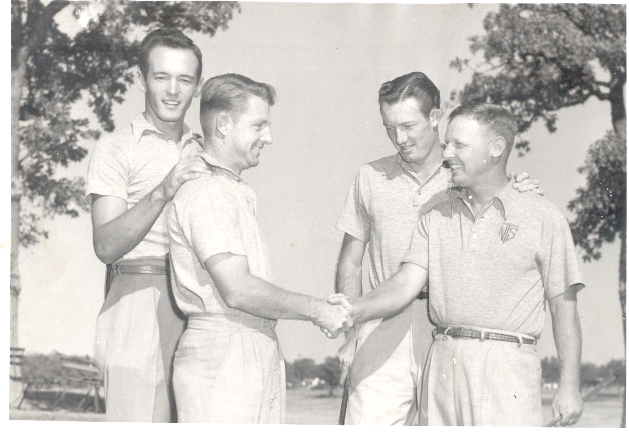 North Texas' 1952 squad, made up of (from left) Marion Hiskey, Joe Conrad, Don January and Billy Maxwell, captured the school's fourth consecutive NCAA title – all under coach Fred Cobb.