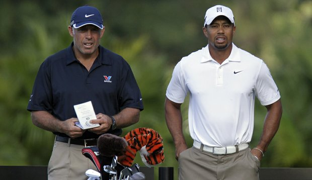 Tiger Woods (right) and caddie Steve Williams during a practice round for the WGC-Cadillac Championship.