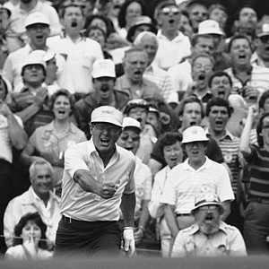 Arnold Palmer makes a fist and yells as he misses a birdie shot on number 17 hole on Thursday, April 7, 1983 in Augusta, during opening round of the 1983 Masters Golf Tournament. He finished the day with a 4-under-par score.
