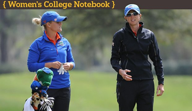 Head coach Jan Dowling (right) talks to Jessica Yadloczky during the final round of the SunTrust Gator Women's Invite.