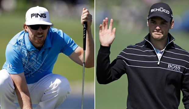 Hunter Mahan, left, leads the WGC-Cadillac Championship, while Martin Kaymer sits one shot back.