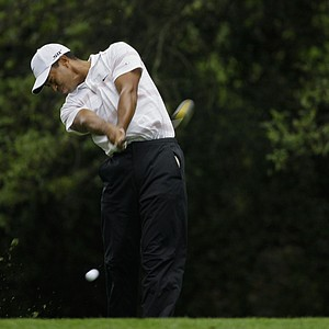 Tiger Woods tees off on the second hole during the third round of the 2008 Masters golf tournament at the Augusta National Golf Club in Augusta, Ga., Saturday, April 12, 2008.