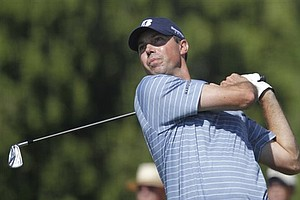 Matt Kuchar tees off on the fourth hole during the final round at the Cadillac Championship in Doral, Fla.