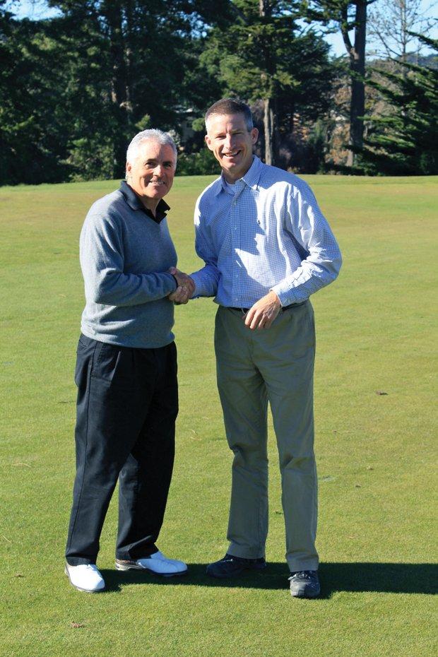 Thomas Bastis (right), with former club president, Allan Jamieson.