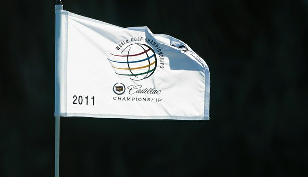 A flagstick is seen during the completion of the first round of the 2011 WGC-Cadillac Championship at the TPC Blue Monster at the Doral Golf Resort and Spa.