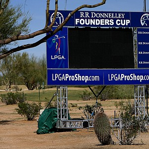 A scoreboard is ready for the start of the tournament at No. 18 green during the inaugural RR Donnelley Founders Cup at Wildfire Golf Club. The course is 6,613 yards, par 72.