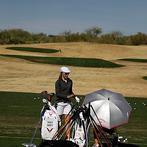 Vicky Hurst on the driving range Tuesday at the inagural RR Donnelley Founders Cup at Wildfire Golf Club. Hurst is part of a 134-player field.