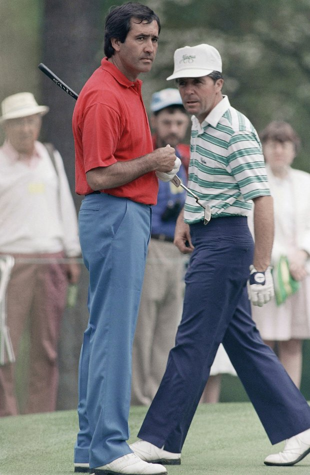 Seve Ballesteros, left, of Spain and Gary Player of South Africa practice at the Augusta National Golf Club, April 6, 1988, preparing for Thursday's opening round of the Masters Golf Tournament.