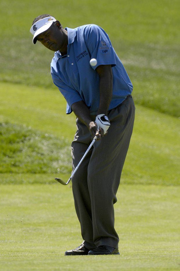 March 2007--Vijay Singh chips in for birdie on the second hole of the Arnold Palmer Invitational at Bay Hill in Orlando, Fl..