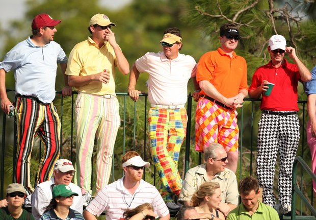 Sharp dressed fans watch the Arnold Palmer Invitational at Bay Hill, Saturday, March 15, 2008.