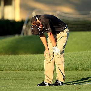 Orlando, FL--03/29/09--Sean O'Hair reacts to hitting his second shot into the water during the final round of the Arnold Palmer Invitational at Bay Hill Club and Lodge.