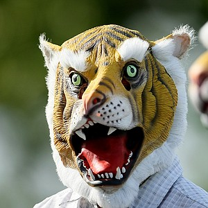 Orlando, FL--03/267/09--Fans wearing tiger masks follow Tiger Woods during the third round of the Arnold Palmer Invitational at Bay Hill Club and Lodge.