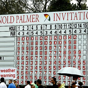 Orlando, Fla.--03/28/10--A leaderboard near the clubhouse shows a weather warning during the final round of the Arnold Palmer Invitational at Bay Hill Club and Lodge.