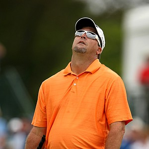 Orlando, Fla.--03/28/10--Chris Couch reacts to his putt at No. 8 during the final round of the Arnold Palmer Invitational at Bay Hill Club and Lodge.