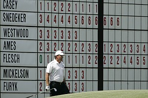 Phil Mickelson watches his chip on the eighth hole during the second round of the 2008 Masters golf tournament at the Augusta National Golf Club in Augusta, Ga., Friday, April 11, 2008.