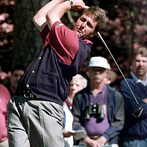 Phil Mickelson watches his shot from the second tee during first round play of the 1996 Masters at the Augusta National Golf Club in Augusta, Ga., Thursday, April 11, 1996.