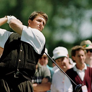 Phil Mickelson of USA tees off on the first tee during the second round of the 1996 Masters at Augusta National Golf Club in Augusta, Georgia.