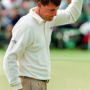 Phil Mickelson of the US celebrates after his eagle on the second hole 10 April during second round action at the 1998 Masters at Augusta National Golf Course in Augusta, GA.