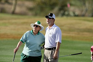 Shirley Spork, one of the original founders of the LPGA, and Commissioner Mike Whan during the pro-am for the RR Donnelley LPGA Founders Cup.