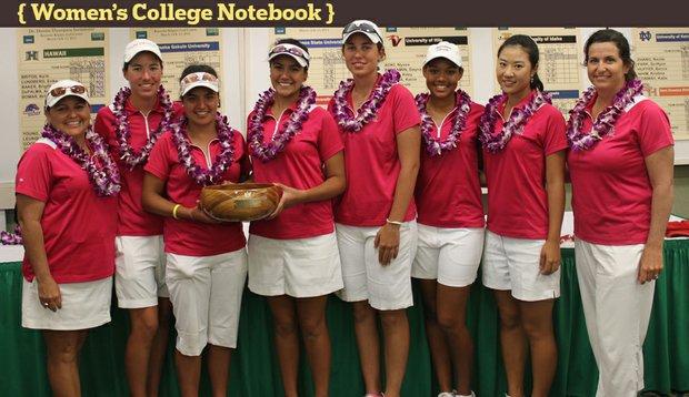 From left: assistant coach Missy Farr-Kaye, Carlota Ciganda, Daniela Ordonez, Laura Blanco, Giulia Molinaro, Nicole Jones, Justine Lee and head coach Melissa Luellen.