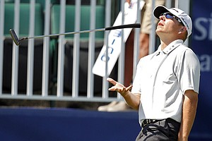 Garrett Willis reacts to missing a long putt at the 18th green in Round 2.