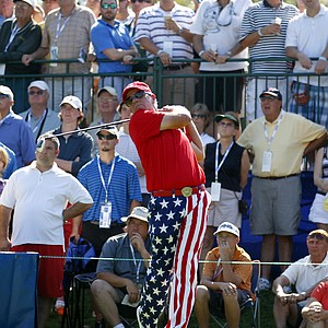 John Daly in patriotic-themed pants at the Transitions Championship.