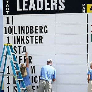 The scoreboard at the RR Donnelley LPGA Founders Cup.