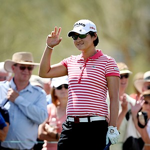 Yani Tseng acknowledges the crowd during Round 1 of the RR Donnelley LPGA Founders Cup.