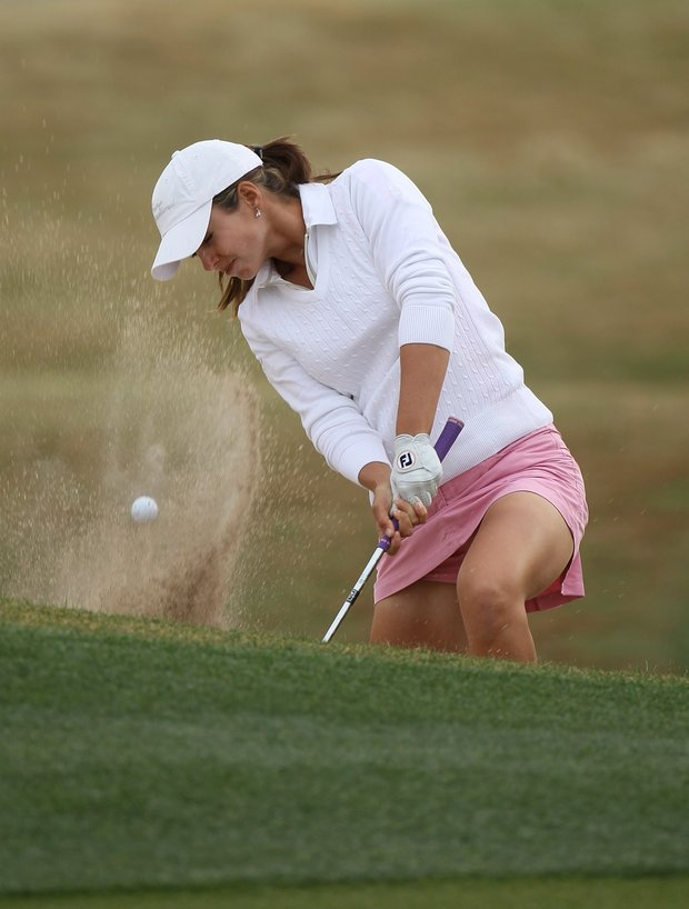 Beatriz Recari of Spain hits out of a bunker on the 11th hole during the second round of the RR Donnelley LPGA Founders Cup at Wildfire Golf Club on March 19, 2011 in Phoenix, Arizona.