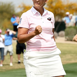 Angela Stanford pumps her fist after making a birdie putt on the 17th hole during the second round of the RR Donnelley LPGA Founders Cup at Wildfire Golf Club on March 19, 2011 in Phoenix, Arizona.