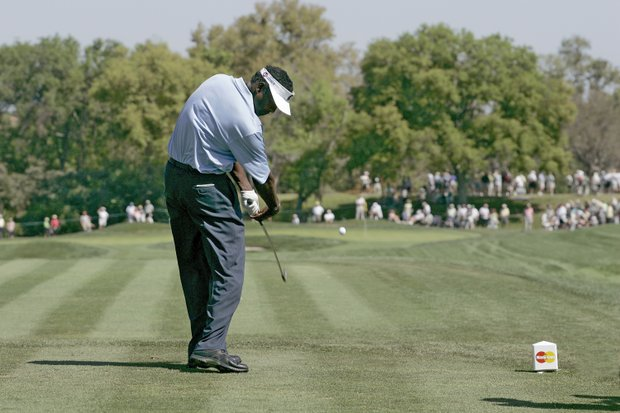 Vijay Singh in action during the second round of the Bay Hill Invitational presented by MasterCard at the Bay Hill Club in Orlando, Florida on March 17, 2006.
