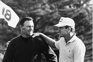 Billy Caster, left, is congratulated by Gene Littler after Casper won the eighteen hole playoff in Masters Tournament in Augusta, Ga. on April 13, 1970.