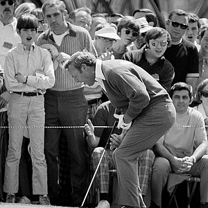 Arnold Palmer Latrobe, Pa., drops his putter after he missed a Birdie putt on the 9th Green on April 8, 1971 in the opening round of the Masters Golf Tournament at the Augusta National golf Club.